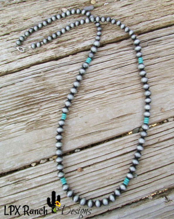 Handmade Silver faux Indian pearls and turquoise layering Necklace