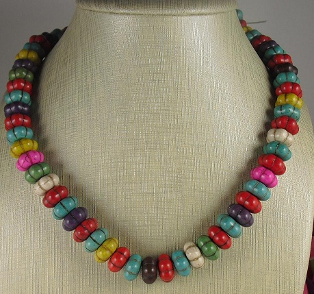 Colorful Howlite Pumpkin Shaped Rondelle Beads 15x8mm