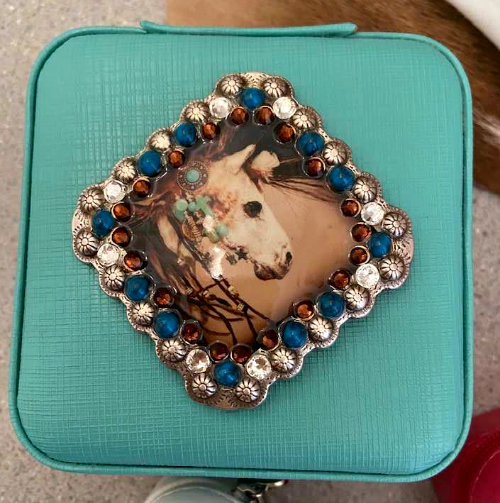 Spirit Horse Compact Traveling Zip Fine Jewelry/Rings/Earrings Case - Turquoise