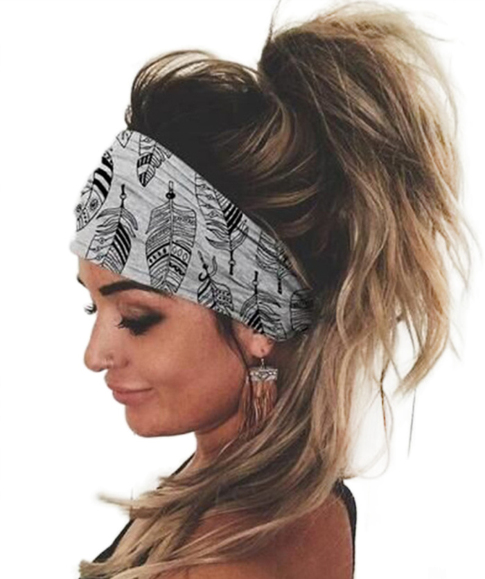Gray Feather Print Elastic Wide Headband