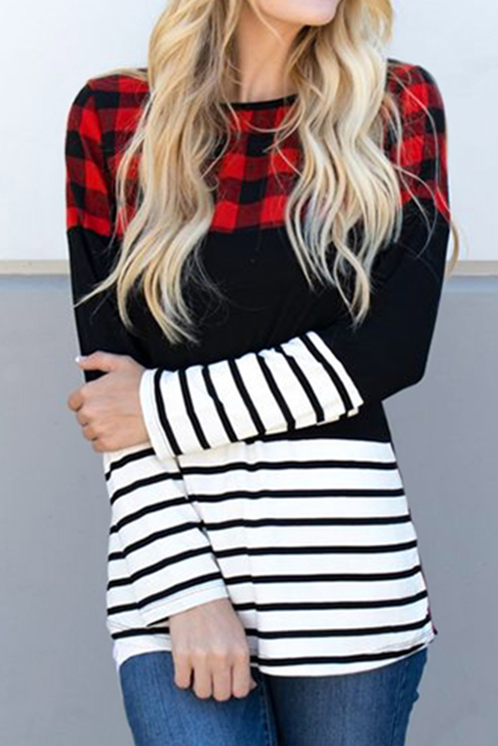 Red Plaid Striped Color Block Long Sleeve Top