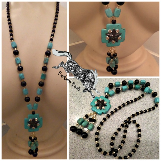 Patina Lone Star Turquoise Cross Long Cowgirl Western Necklace
