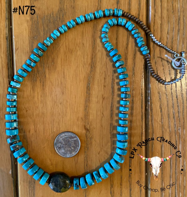 Turquoise Focal Bead Necklace  (Click here for details)