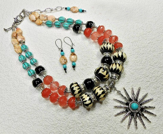Kenya Chunky Batik Bone Statement Necklace Set