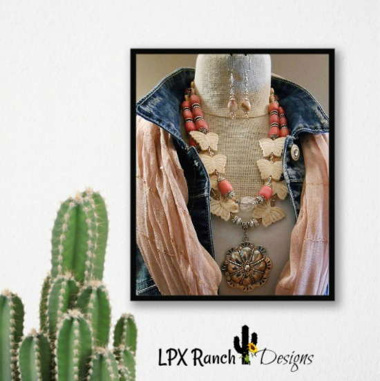 Kuwanyauma Butterflies and Salmon Coral Pink Statement Necklace Set