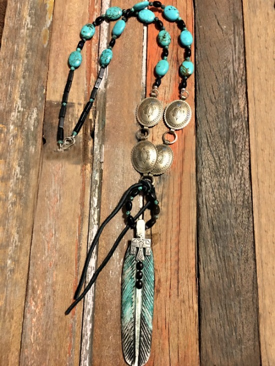 Concho and Turquoise - Native Painted Bone Feather Necklace