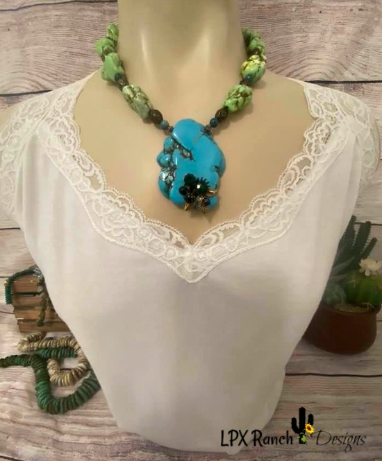 Abedabun  Chunky Cowgirl Turquoise Slab Necklace