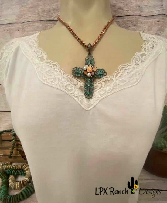 Aiyana Turquoise Patina Copper Jeweled Cross Necklace