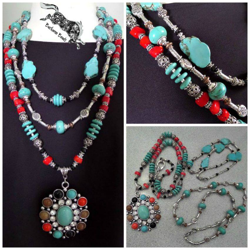 Southwest Turquoise and Coral Extreme Necklace Set