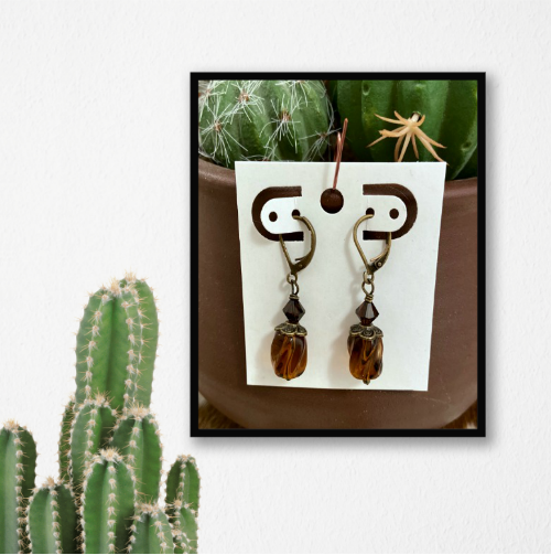 Amber - Handmade Brass Earrings  (Click here for details)