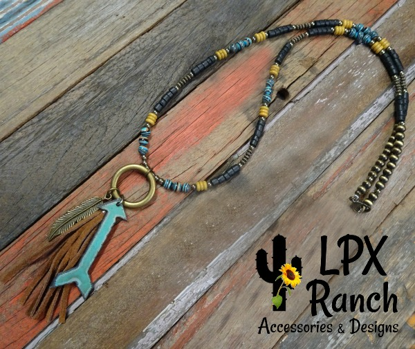 Mustard and Turquoise Arrow Necklace