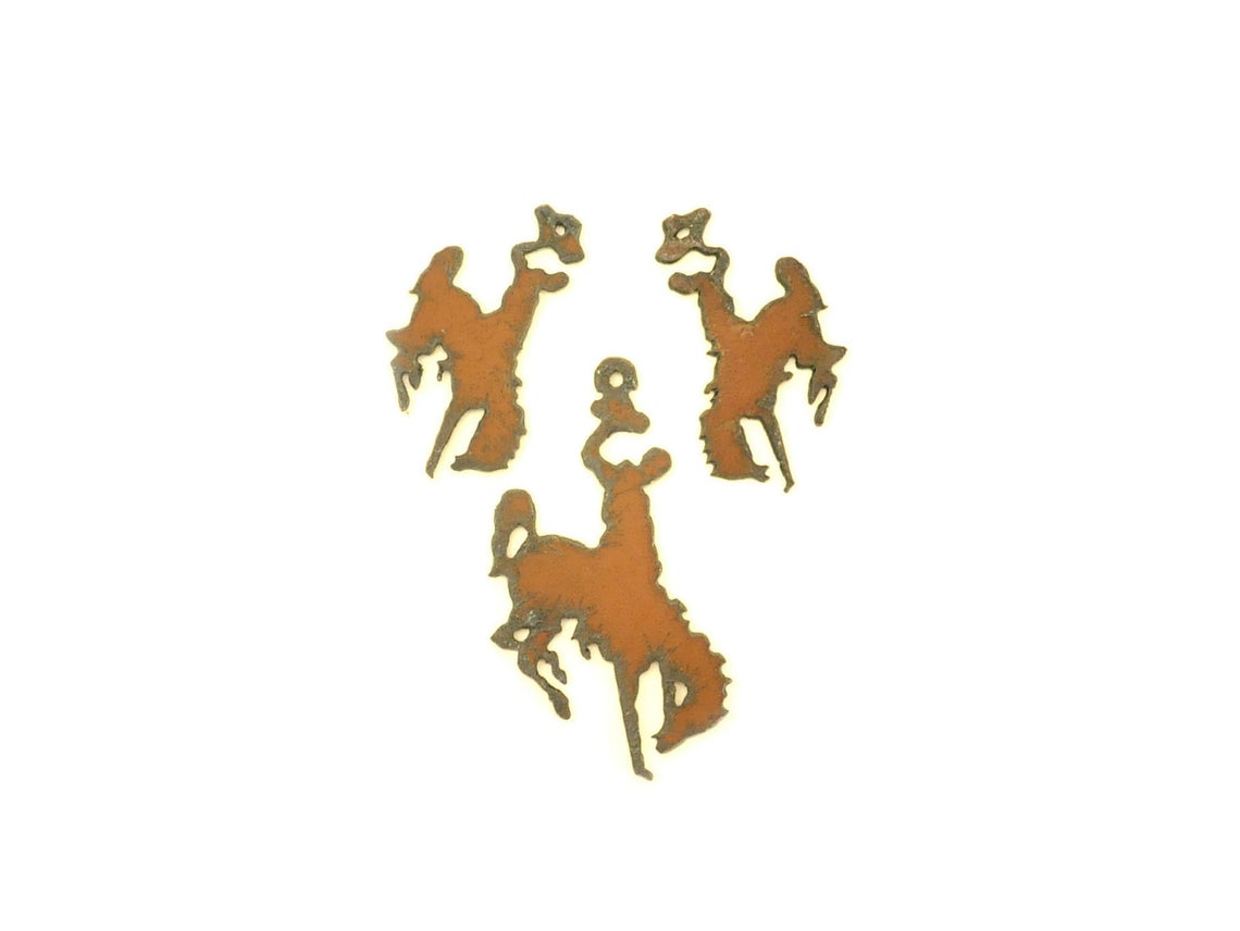 Rustic Metal Bronc Pendant/Charm And Earring Components