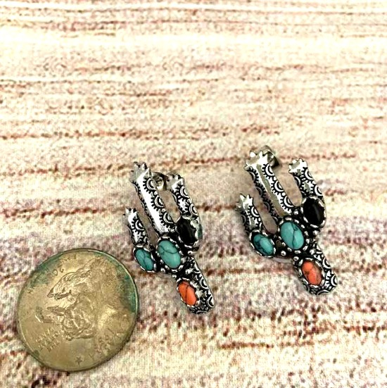 Western Stamped Cactus Earrings