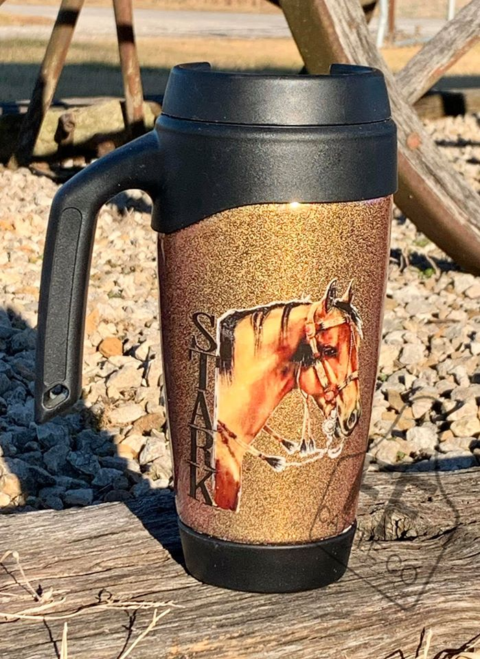 Buckskin Vintage Saddle Custom Tumbler Coffee Cup