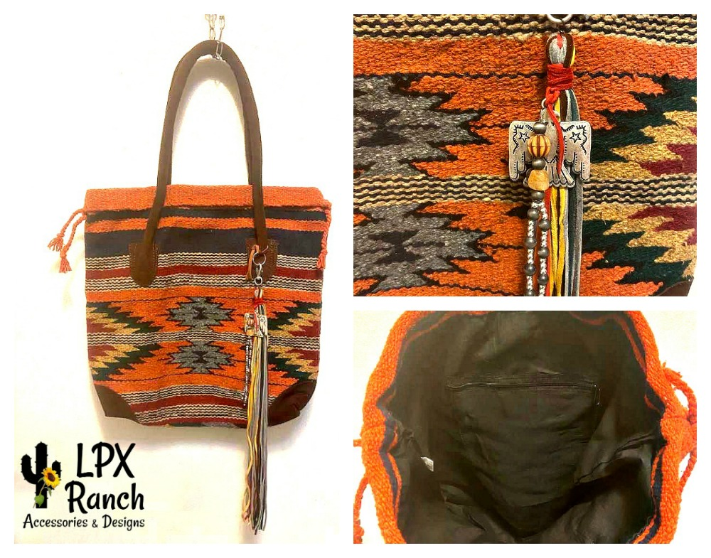 Saddle Blanket Handbag - Southwest Orange and Gray
