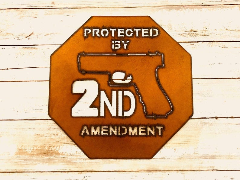 Protected by 2nd Amendment Rustic Metal Wall Art