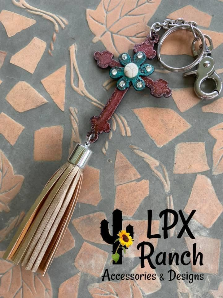 Handmade Embellished Rustic Cross Keychain with Tassel