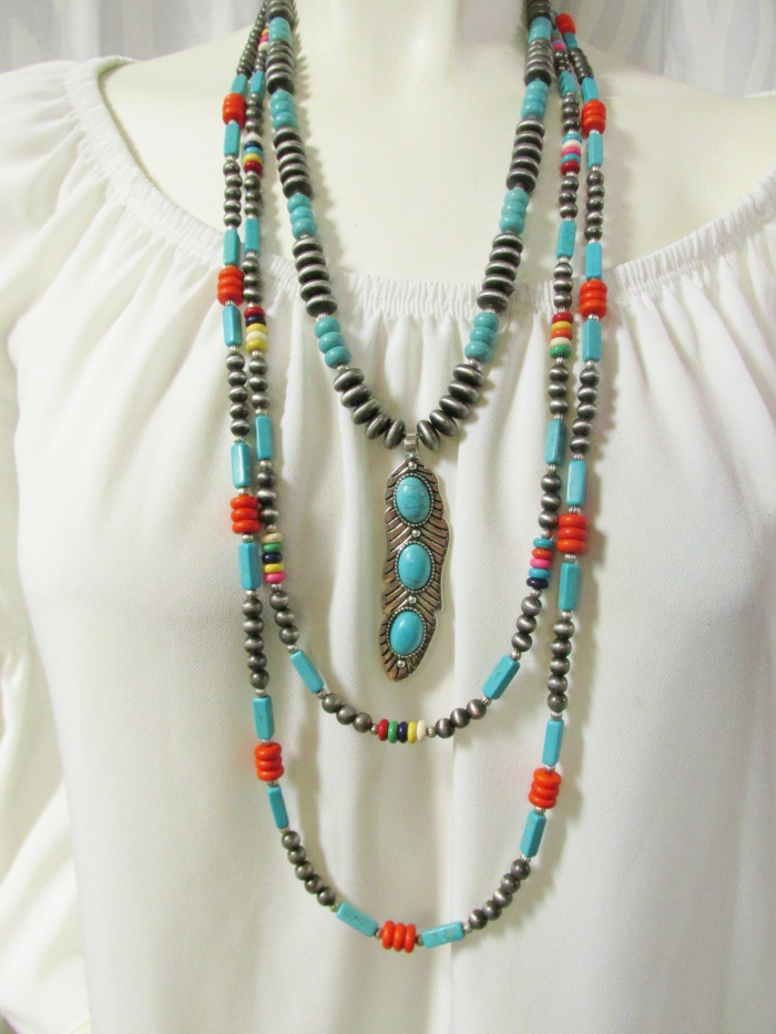 Triple Turquoise Feather Necklace Set - 3 pieces